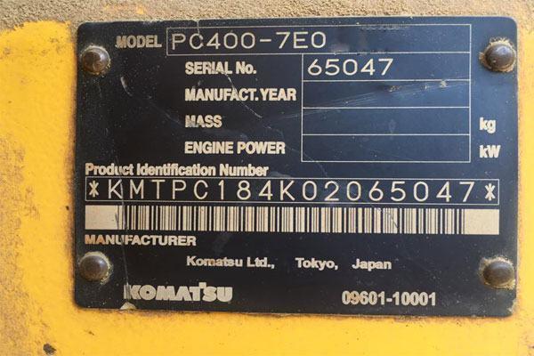 Hay máy có ký hiệu PC400-7 EO nghĩa là máy xúc thủy lực bánh xích, nặng 40 tấn, đời -7