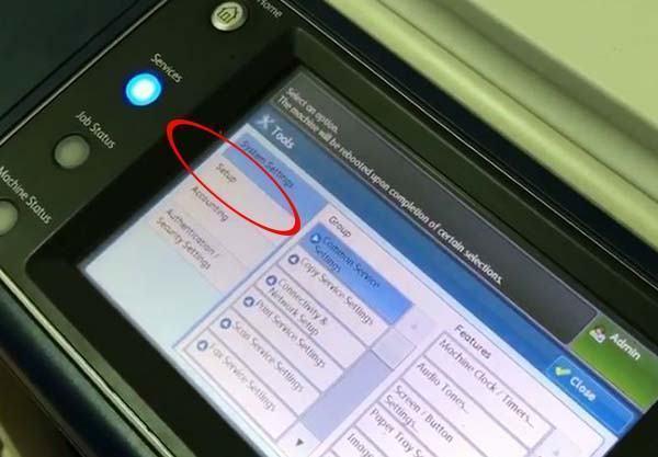 Chọn phần setup để cài đặt scan cho máy photo Xerox