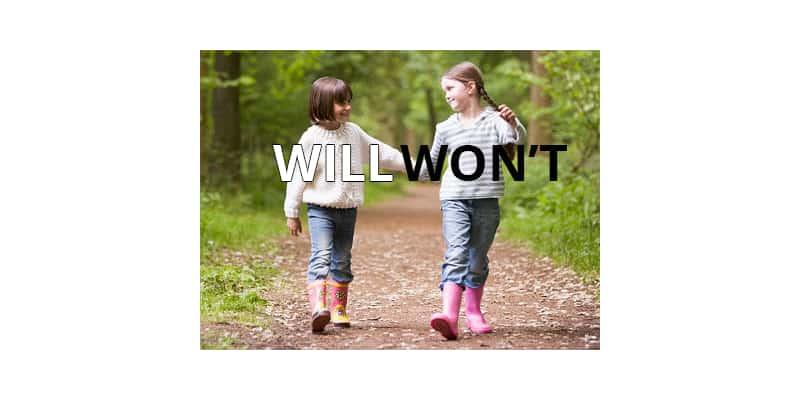 Cách dùng will và won't