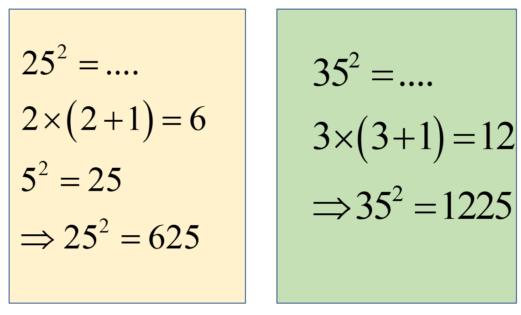 nhân nhẩm nhanh bình phương số có hai  chữ số
