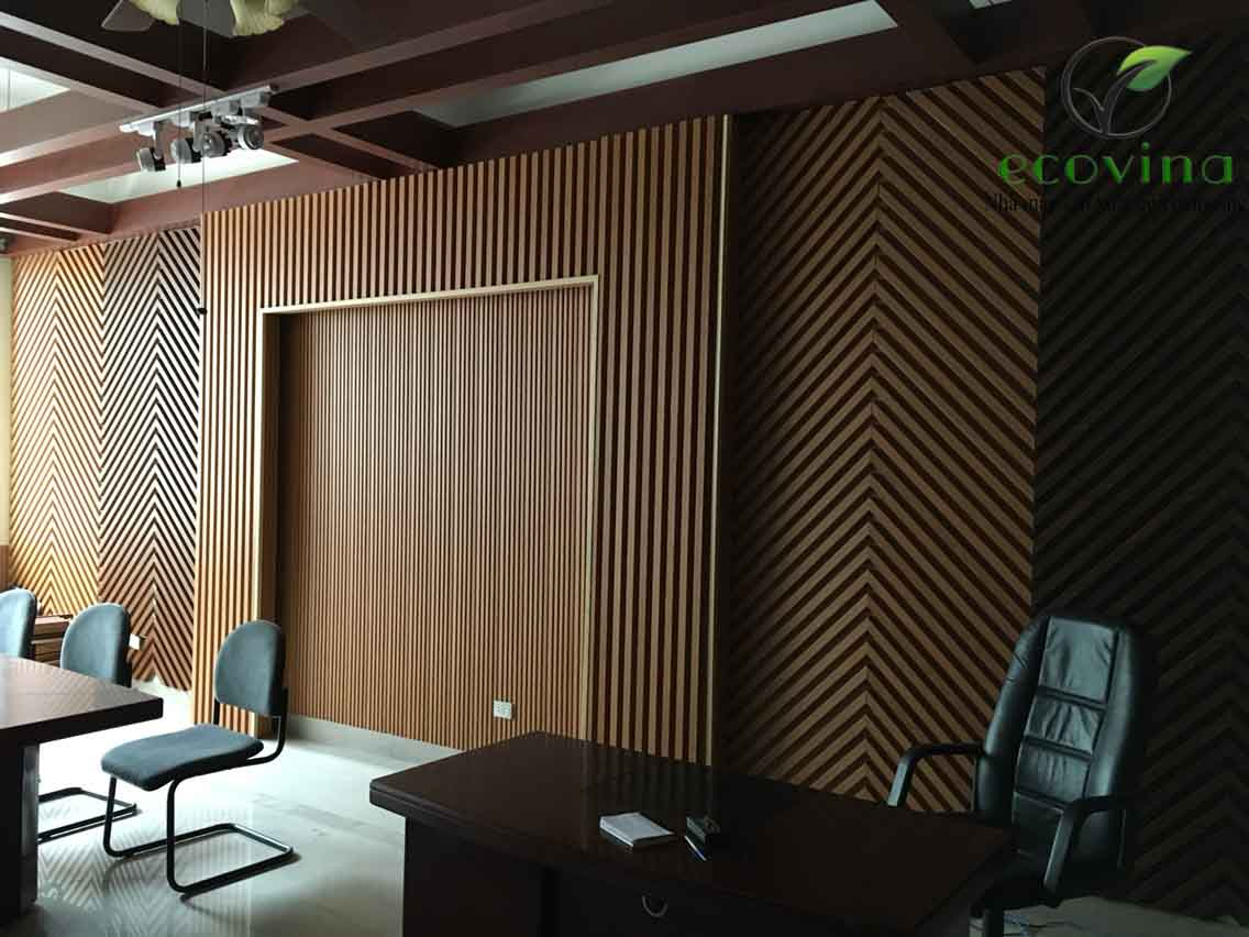 Văn phòng dùng tấm nhựa giả gỗ ốp tường - tấm ốp gỗ nhựa composite Ecovina