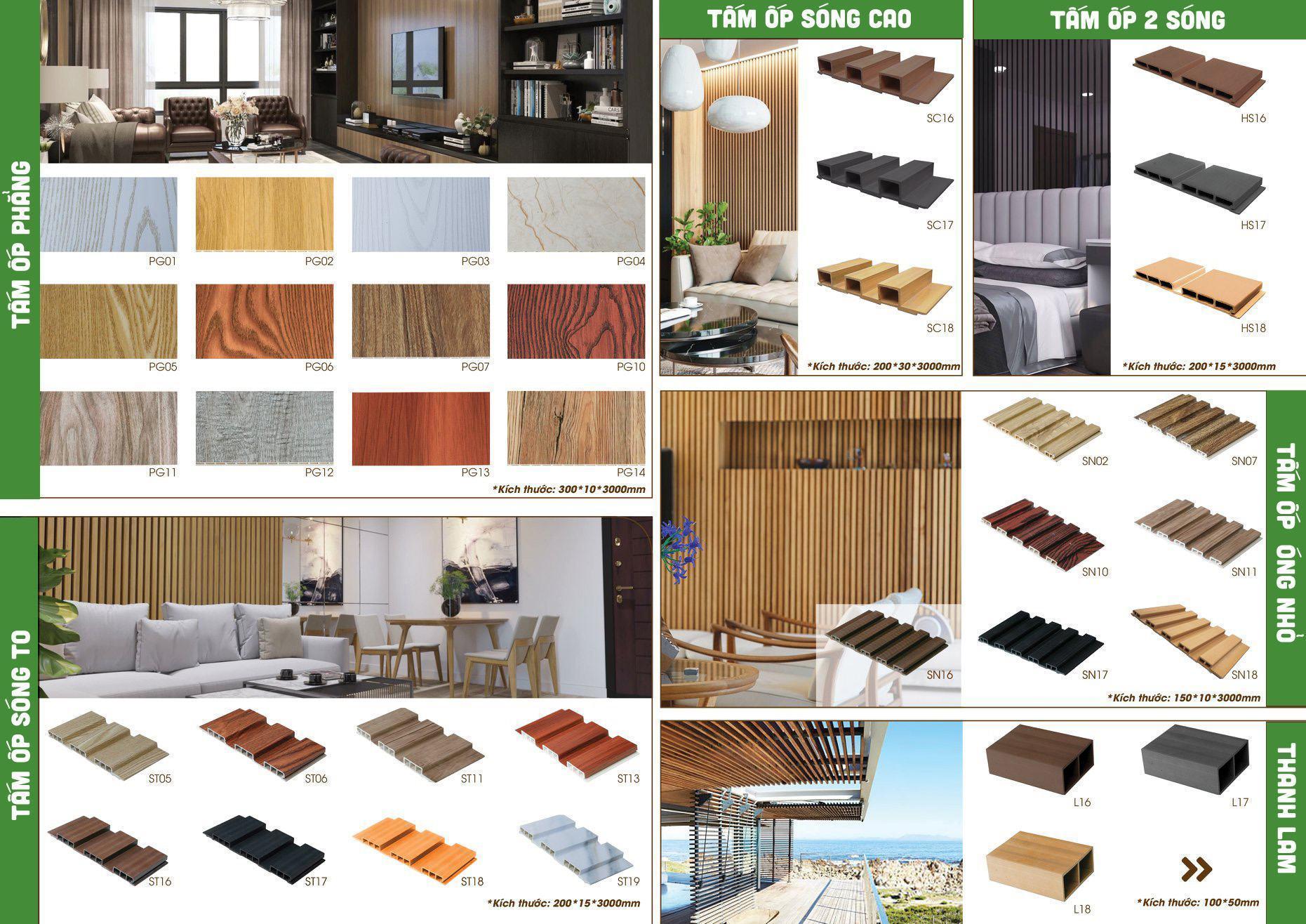 Các mẫu tấm ốp tường gỗ nhựa composite Ecovina