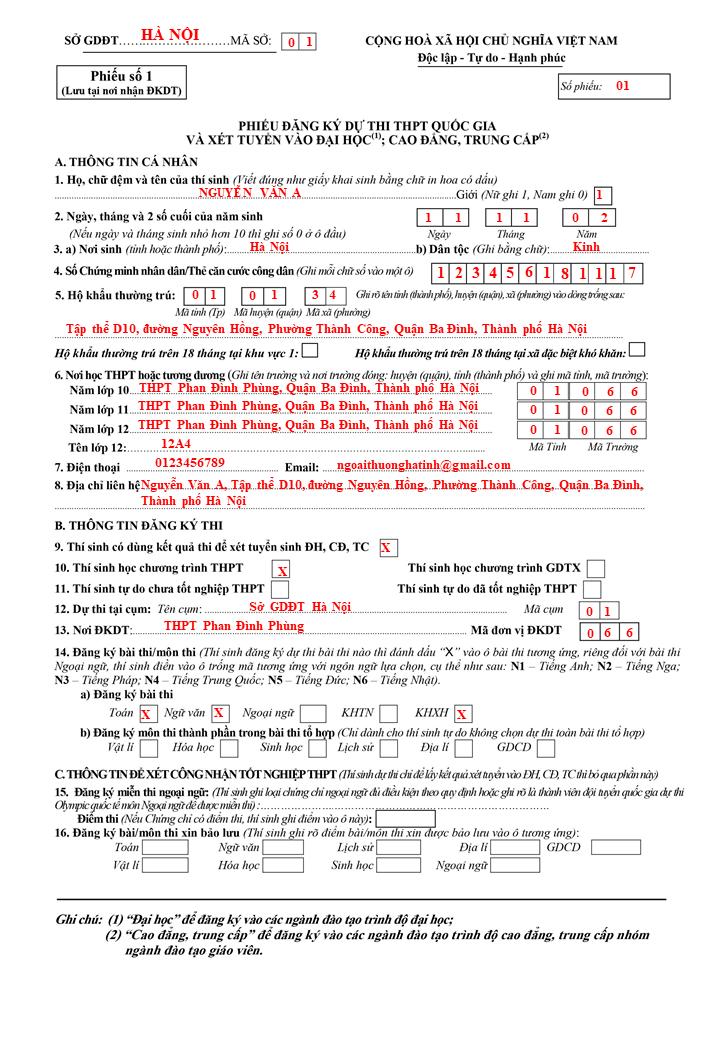 Cách viết phiếu đăng ký dự thi tốt nghiệp THPT, xét tuyển đại học 2021