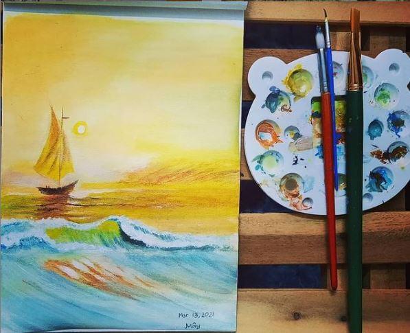 Vẽ tranh cảnh biển acrylic dễ dàng cho người mới bắt đầu