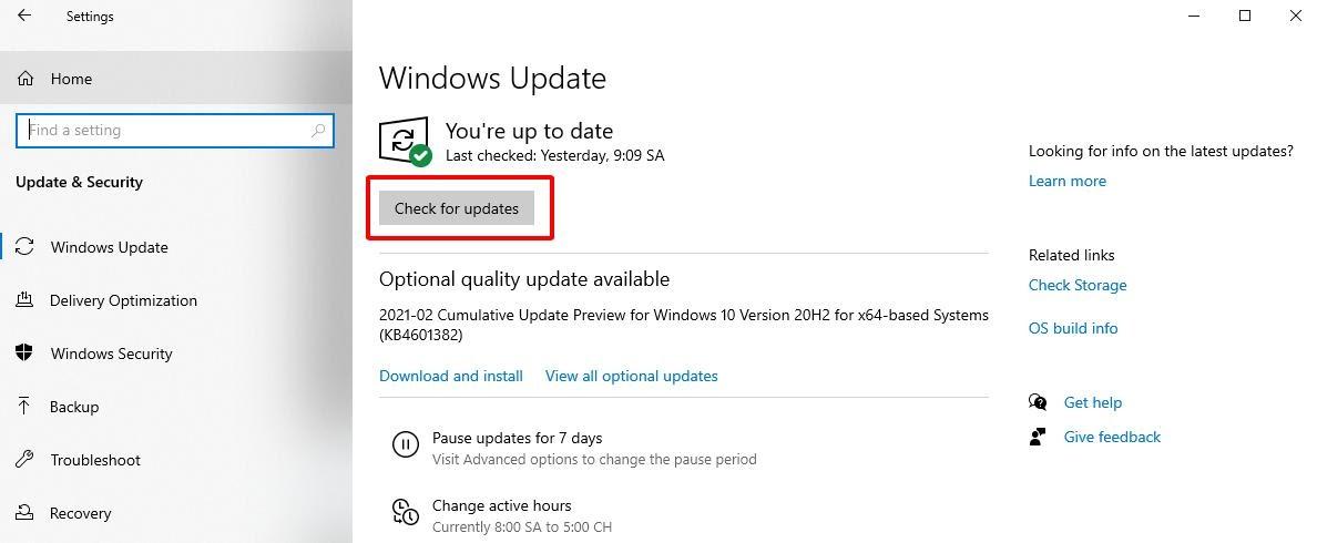Cập nhật lại windows để sửa lỗi laptop không kết nối được wifi