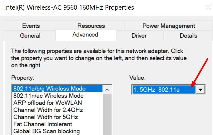 change wireless adapter values