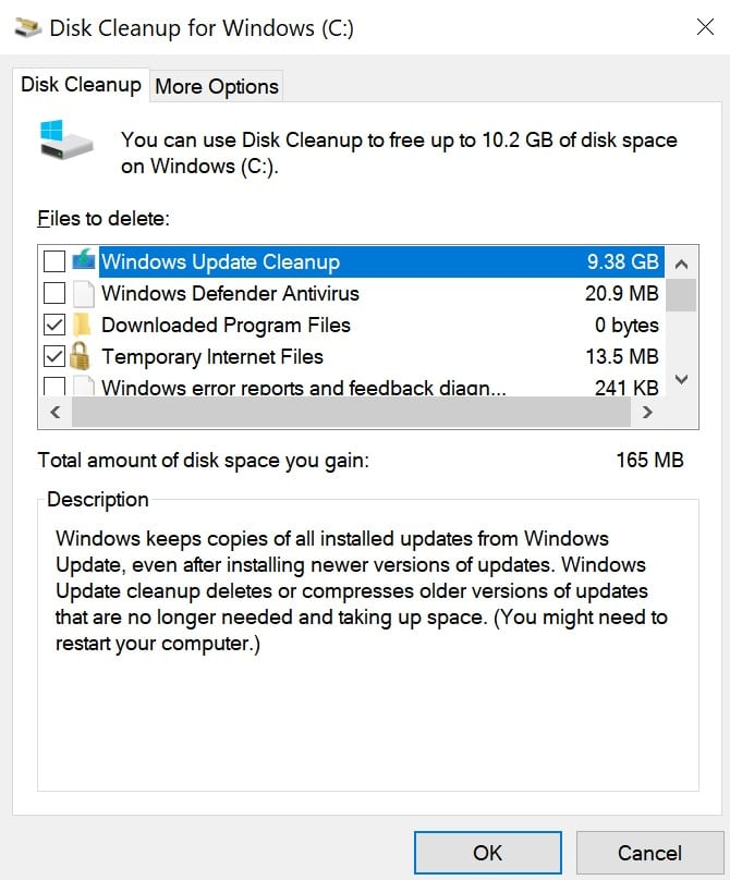 disk cleanup free disk space