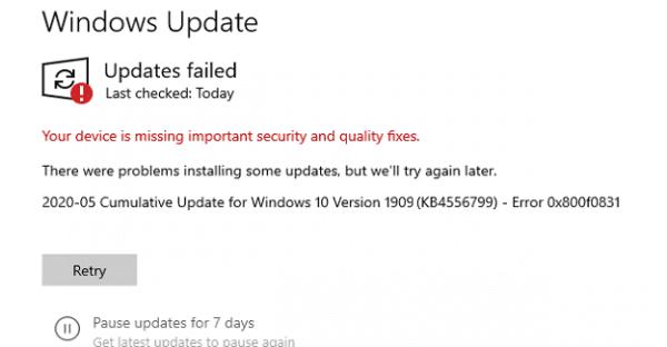 Cách sửa lỗi 0x800f0831 khi cập nhật Windows