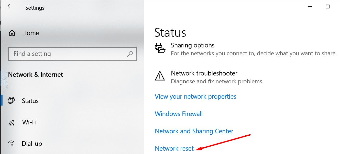 network reset windows 10