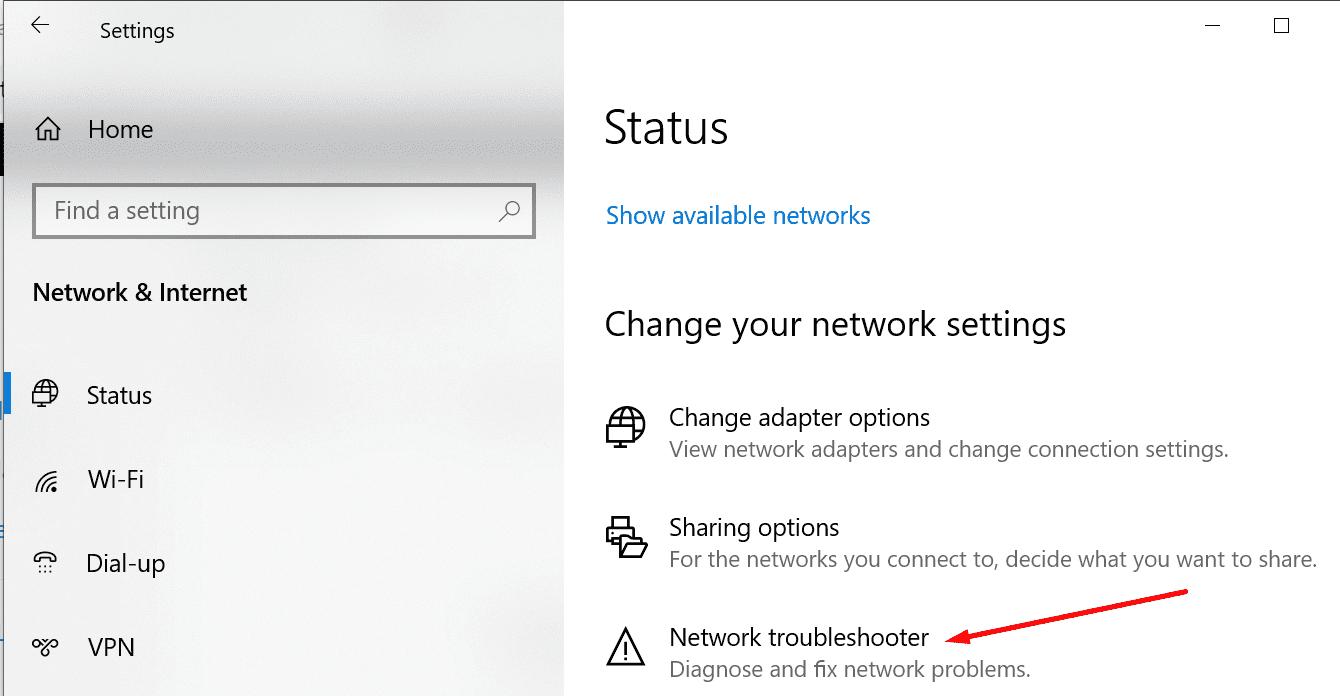 run Network Troubleshooter windows 10