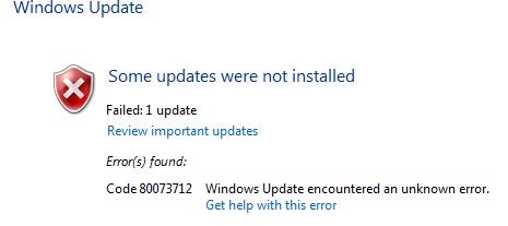 Lỗi cập nhật Windows 0x80073712 trên Windows 10