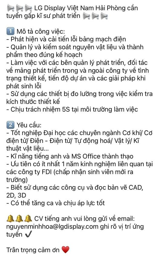 CÔNG TY TNHH LG DISPLAY VIỆT NAM - HẢI PHÒNG tuyển Kỹ Sư Phát Triển