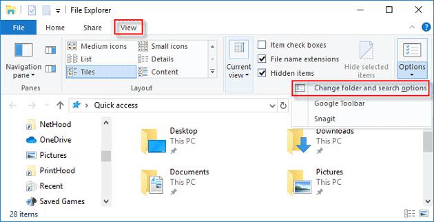 change folder options