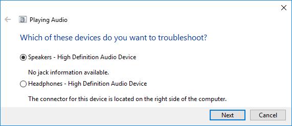 choose Speakers option