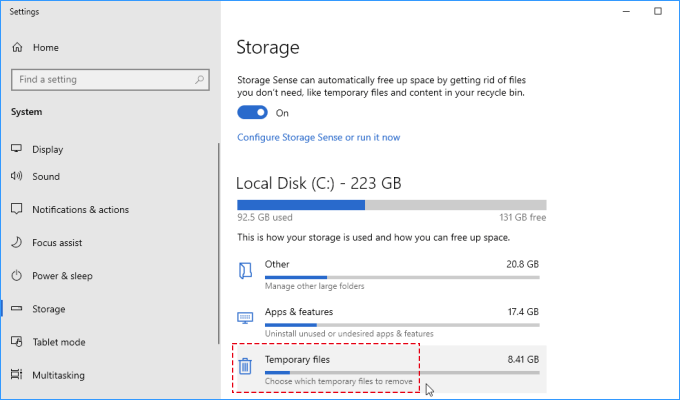 Choose which temporary files to remove