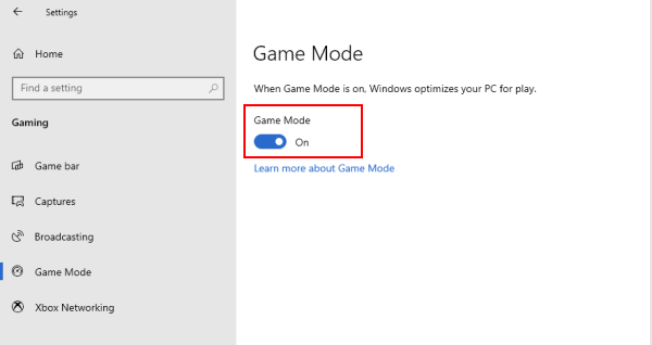 Enable game mode
