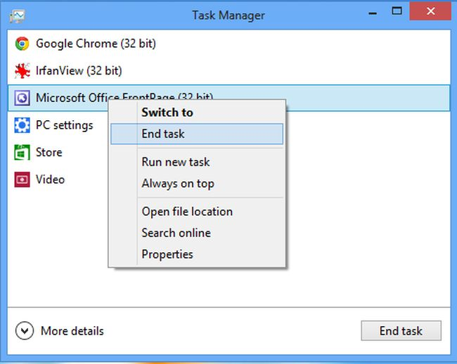 How to Kill Process in Windows 8