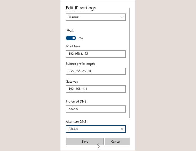 Enter IP address