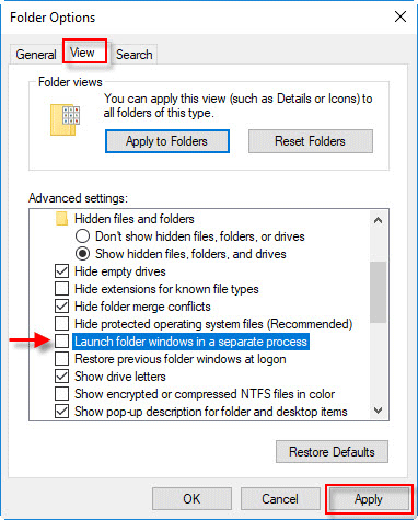 launch folder in seperate process