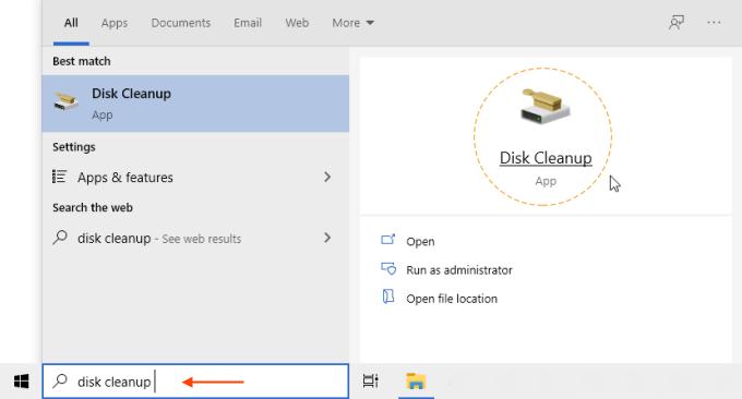 Open disk cleanup app