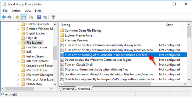 turn off thumbnails caching