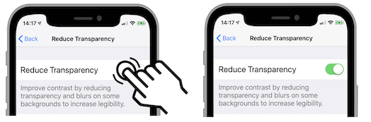 turn on the Reduce Transparency