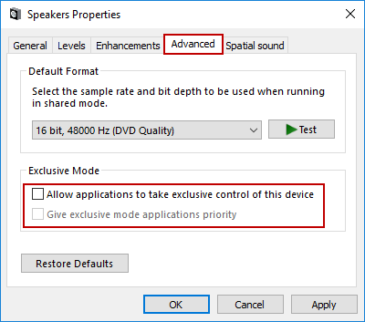 uncheck following options