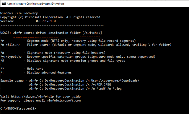 Windows file recovery command